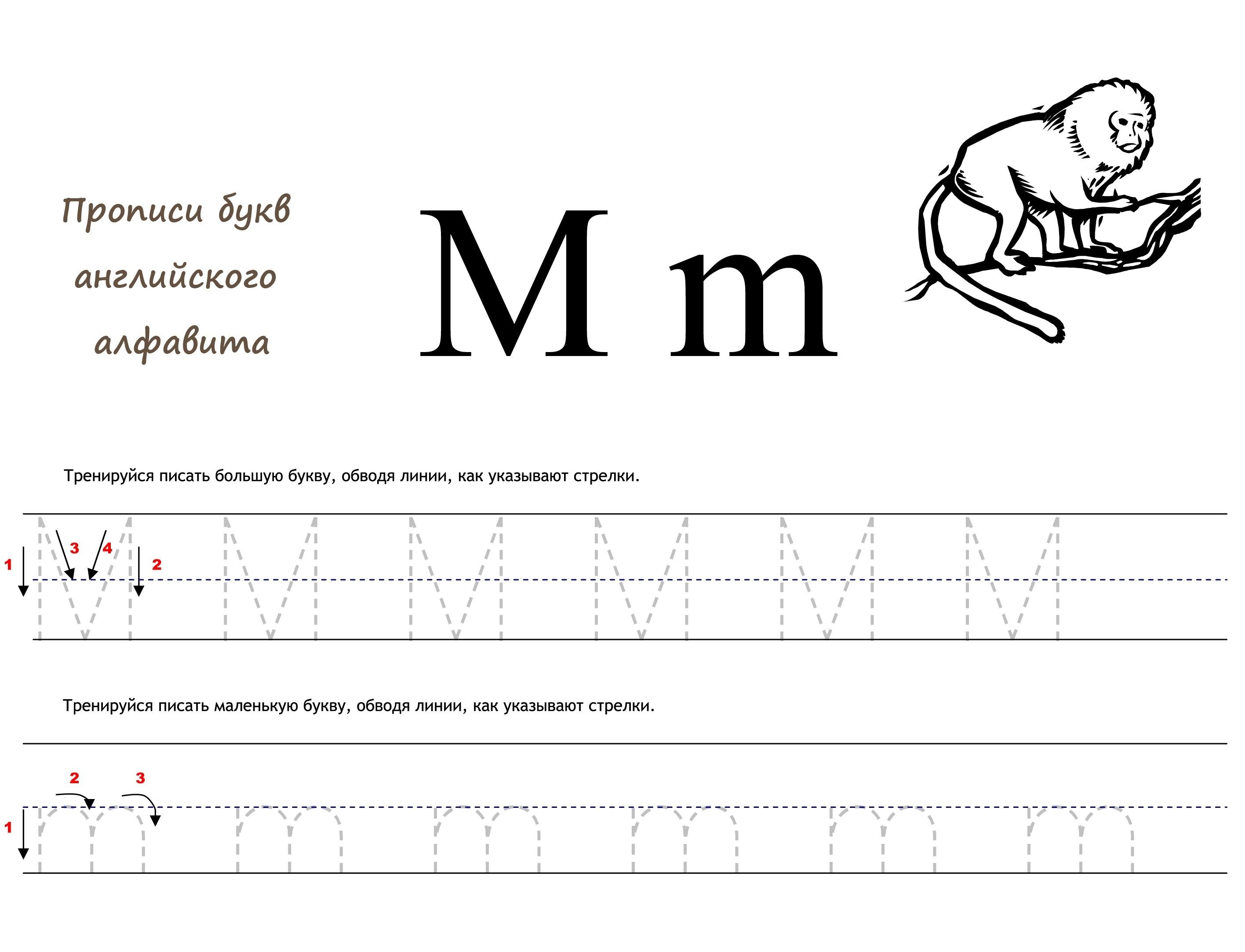 Раскраска Английская буква M прописью распечатать или ...