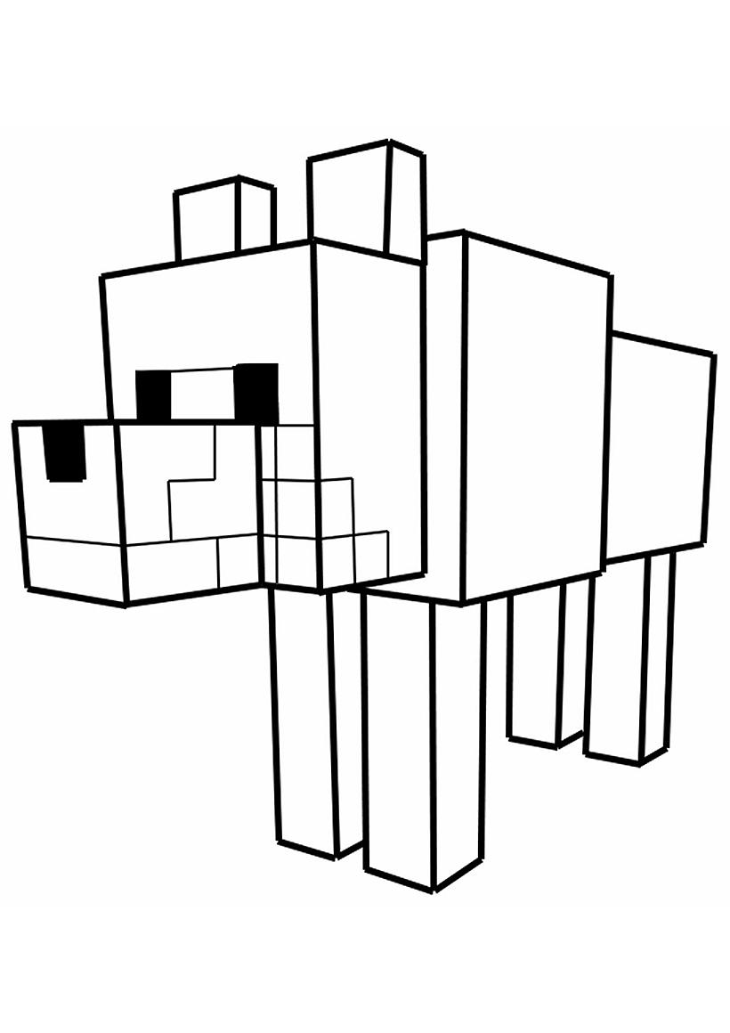 Раскраска Собака из Майнкрафт распечатать или скачать ...