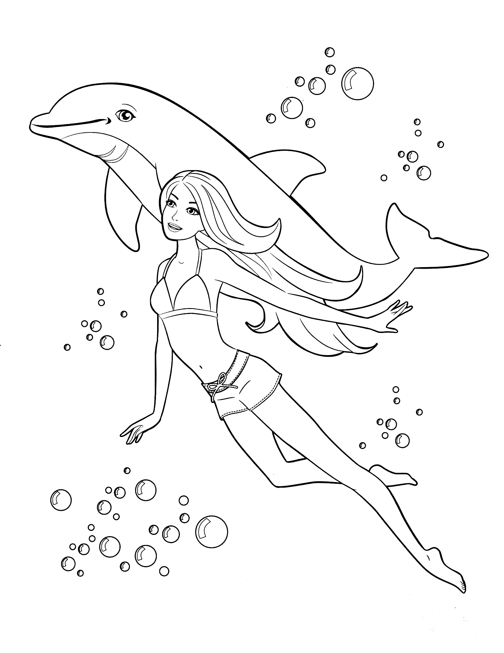 раскраска барби с дельфином распечатать или скачать бесплатно