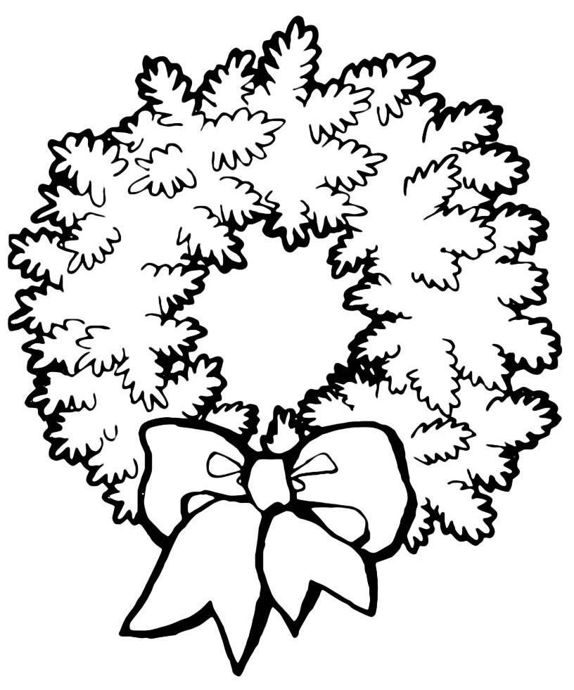 Раскраска Новый год для детей - венок распечатать или ...