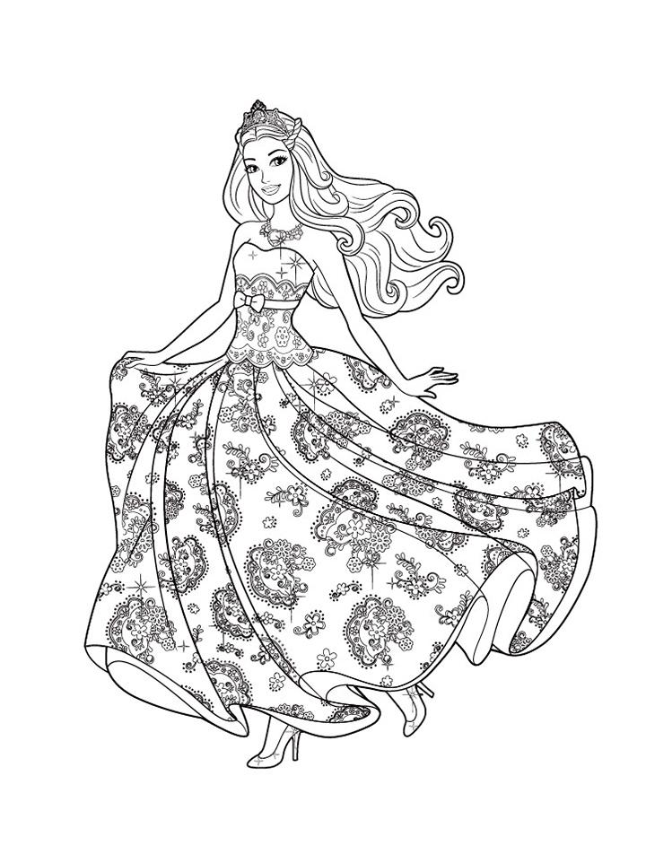 Раскраска Платье Барби распечатать или скачать бесплатно