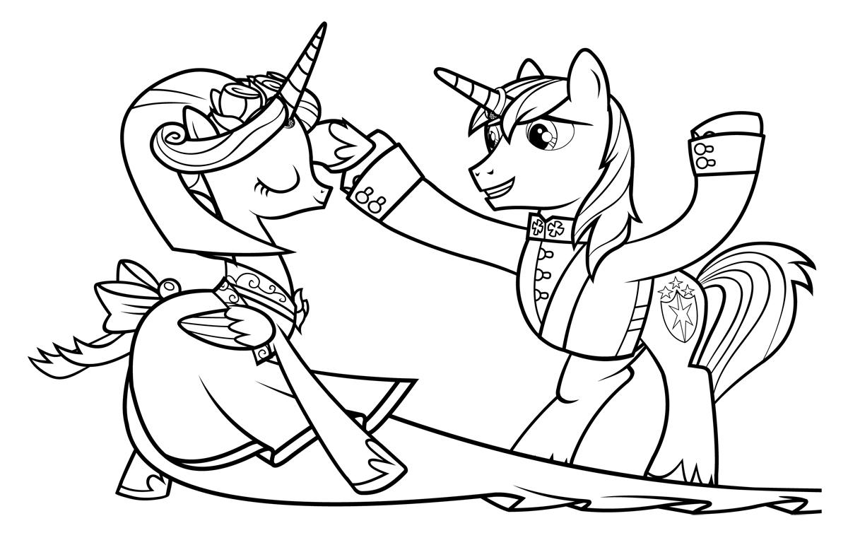 раскраска принцесса каденс и шайнинг армор распечатать или