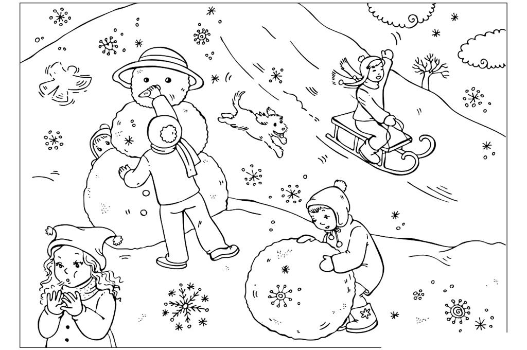раскраска зимние игры детей распечатать или скачать бесплатно
