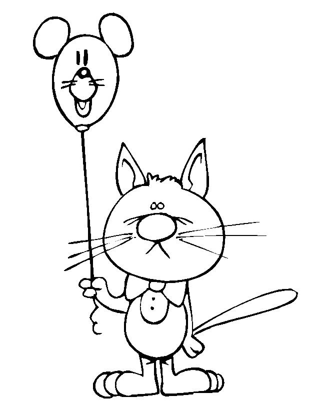 Раскраска Кот с бантом и шариком распечатать или скачать ...