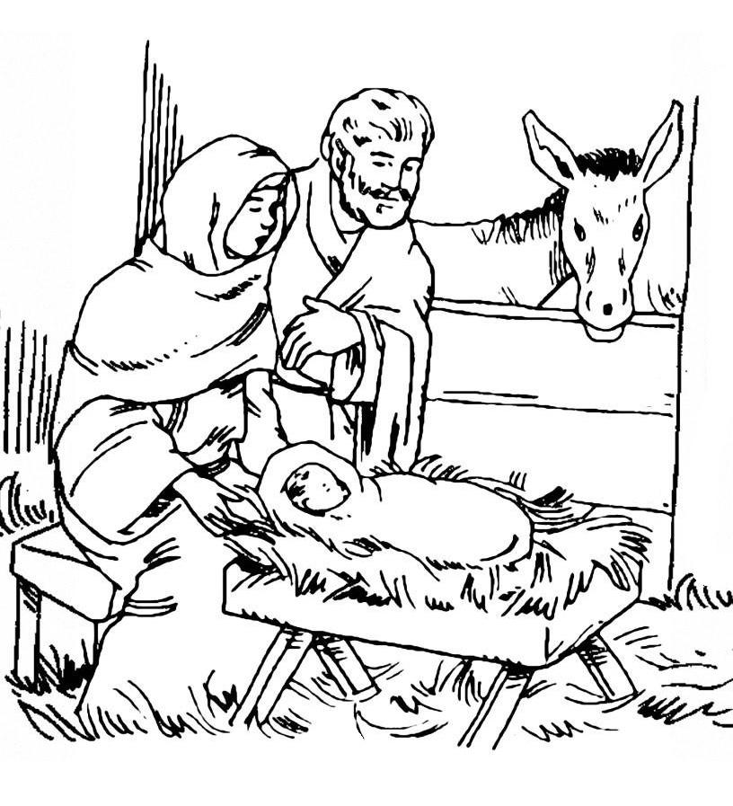рождение иисуса картинки раскраски