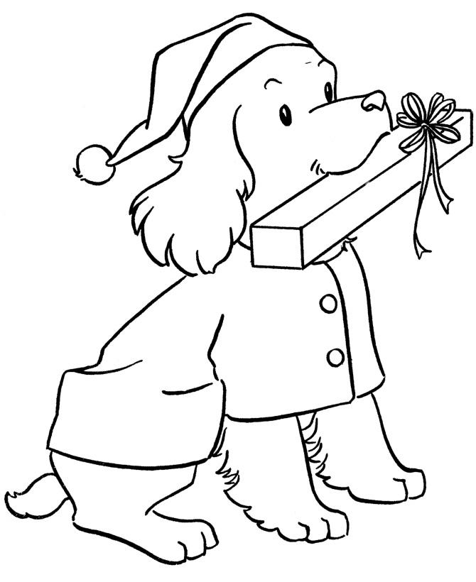 Раскраска Собака с подарком распечатать или скачать бесплатно