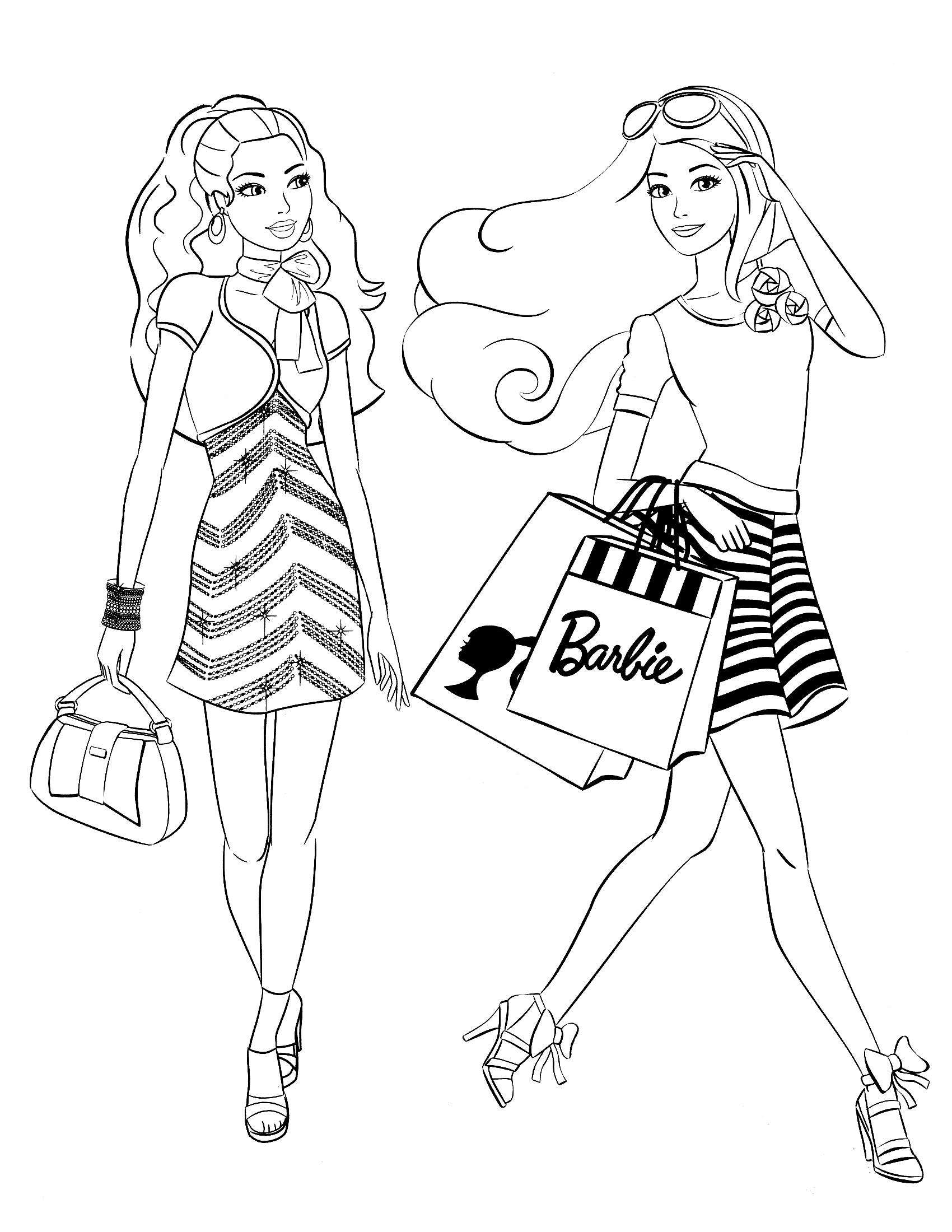Раскраска Покупки с Барби распечатать или скачать бесплатно
