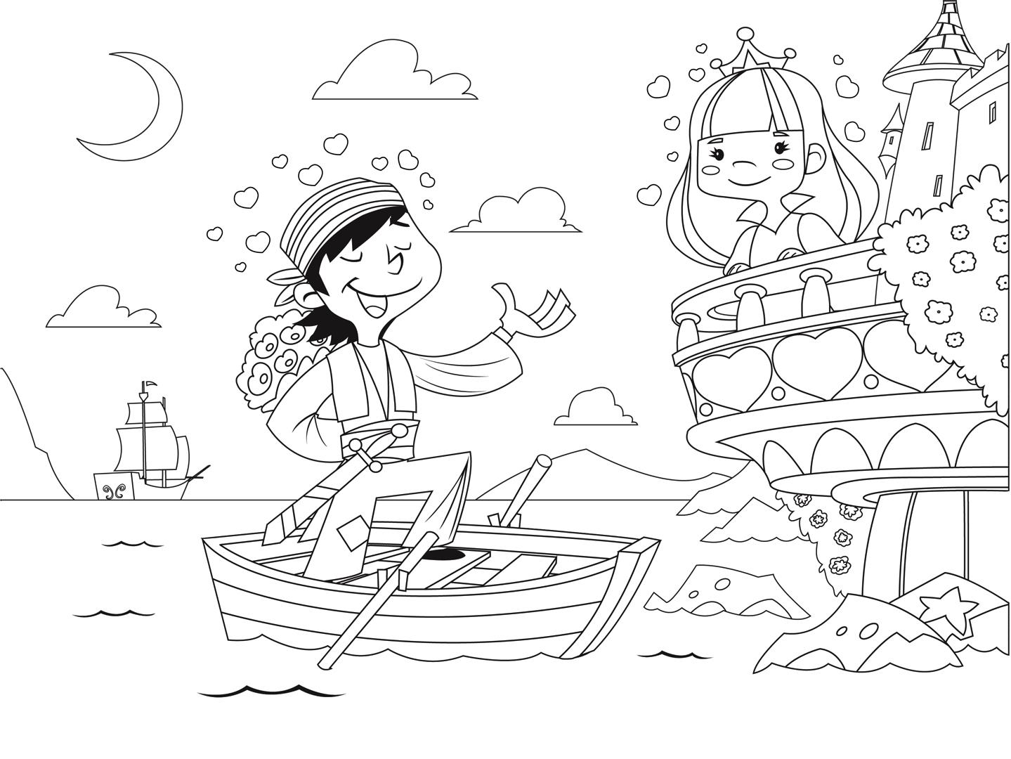 Раскраска Принцесса и пират распечатать или скачать бесплатно