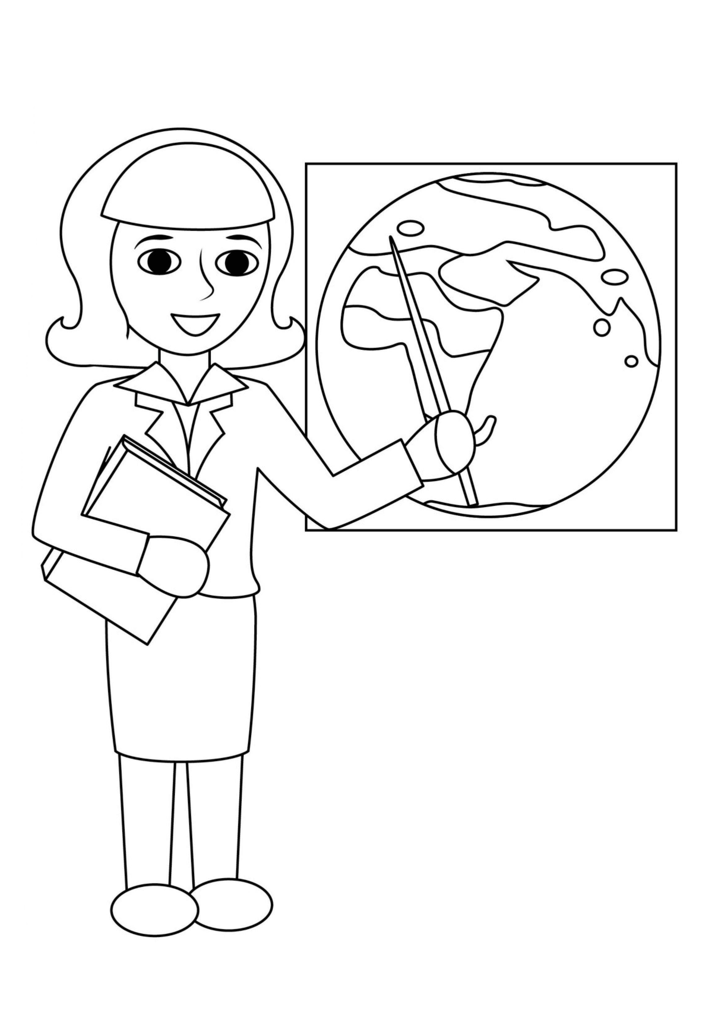 Раскраска Учительница географии распечатать или скачать ...