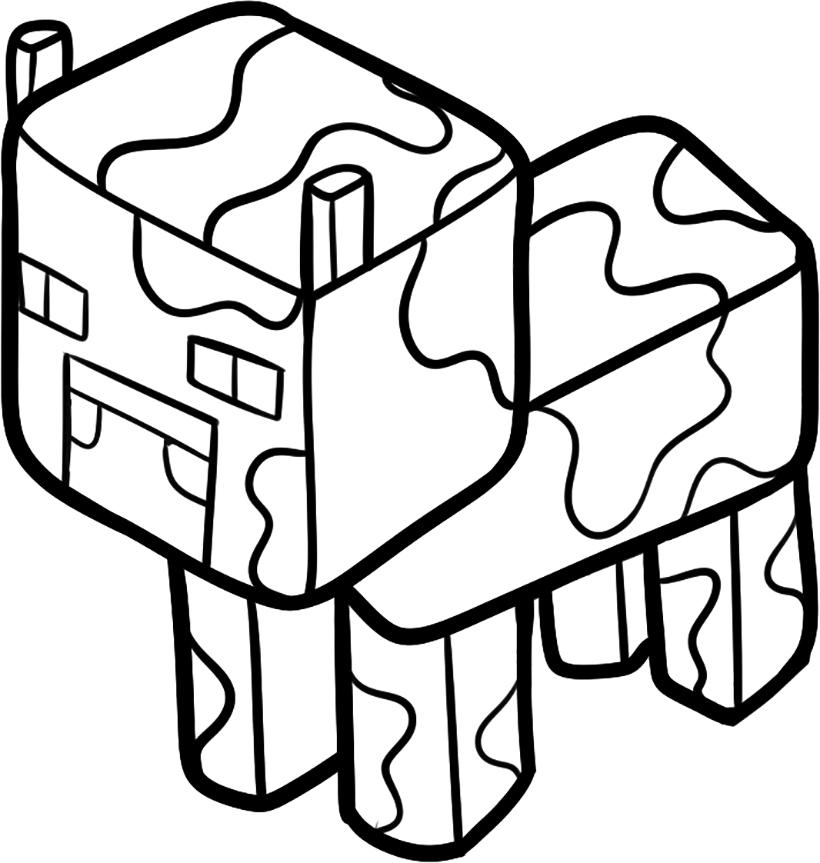 Раскраска Корова Minecraft распечатать или скачать бесплатно