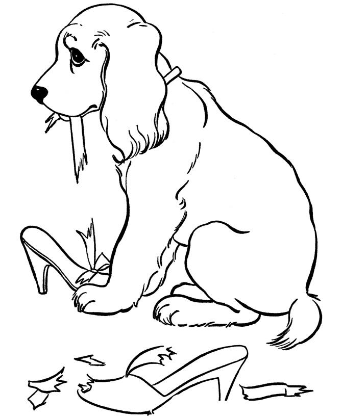 Раскраска Собака разгрызла туфли распечатать или скачать ...