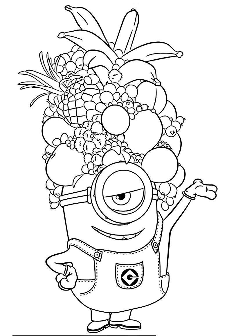 Раскраска Стюарт с фруктами распечатать или скачать бесплатно