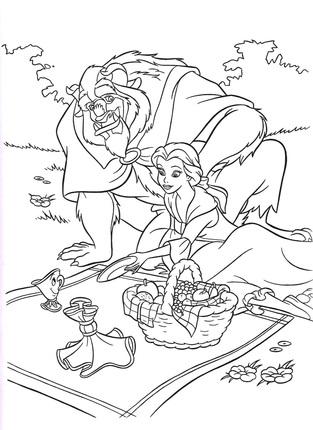 Раскраска Принцесса и чудовище на пикнике распечатать или ...