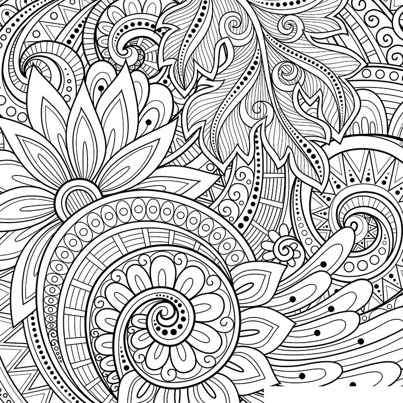 Раскраска Антистресс Цветочный орнамент распечатать или ...
