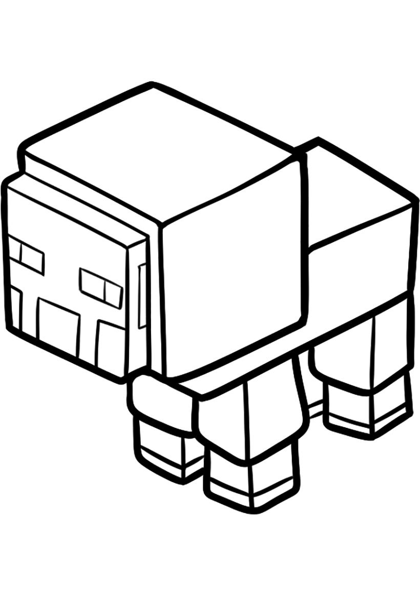 Раскраска Овечка из Майнкрафт распечатать или скачать ...
