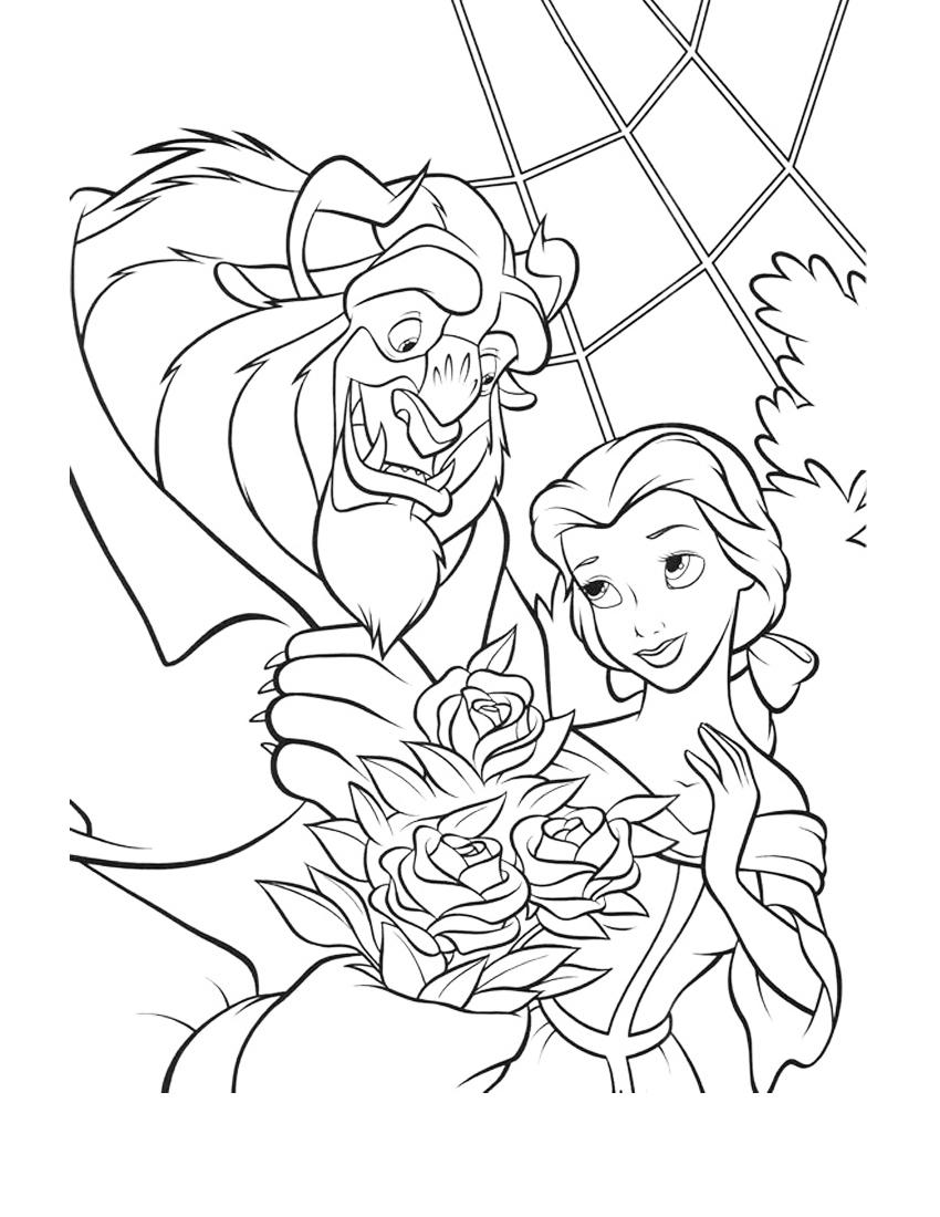 Раскраска Принцесса получает в подарок от чудовища розы ...