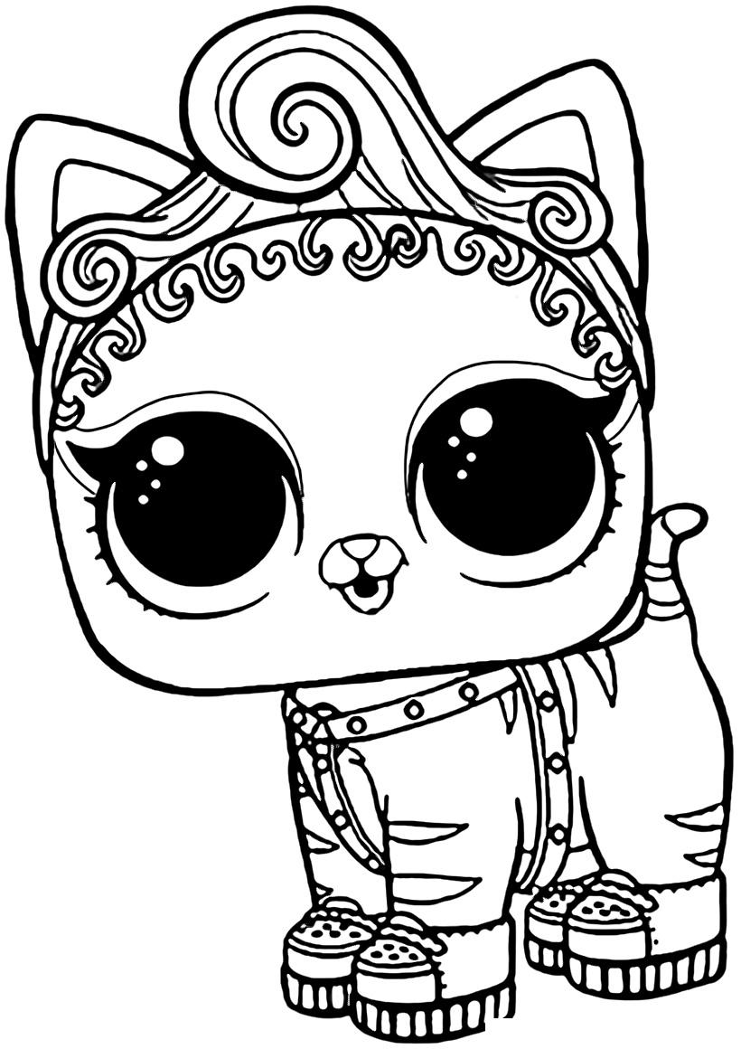 Раскраска ЛОЛ питомец котёнок Мур распечатать или скачать ...
