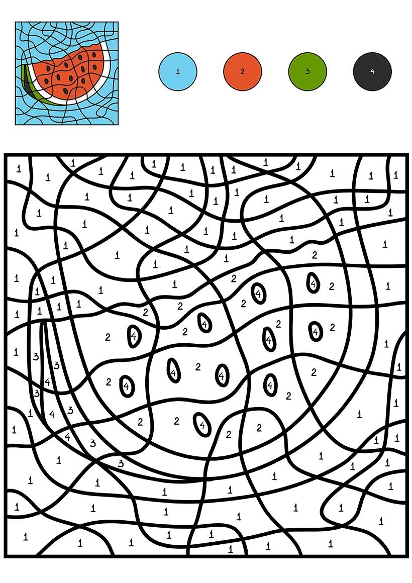 Раскраска Арбуз по цифрам распечатать или скачать бесплатно