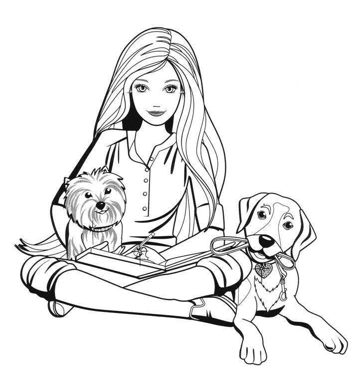 Раскраска Барби с двумя собачками распечатать или скачать ...