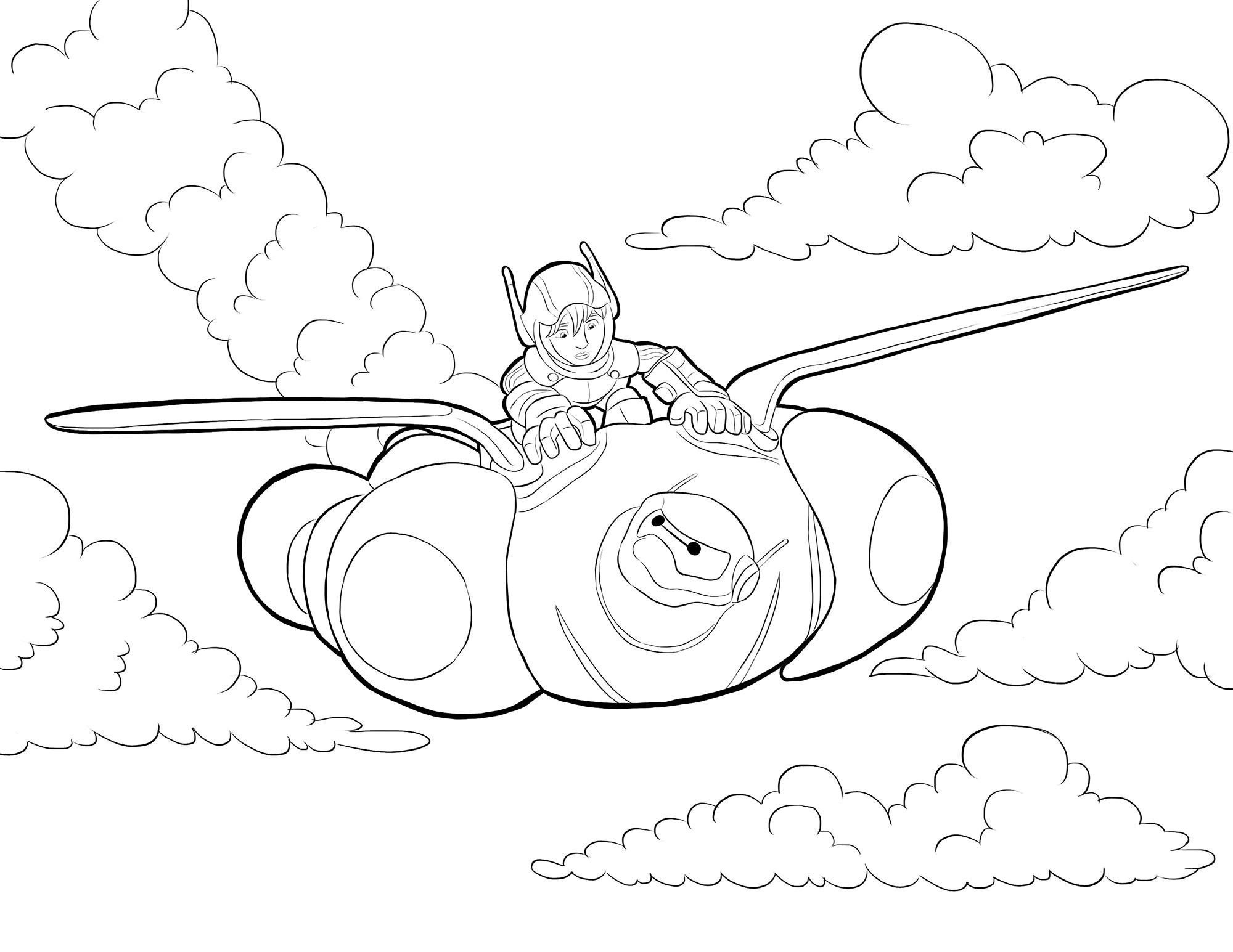 Раскраска Хиро летит на Беймаксе распечатать или скачать ...