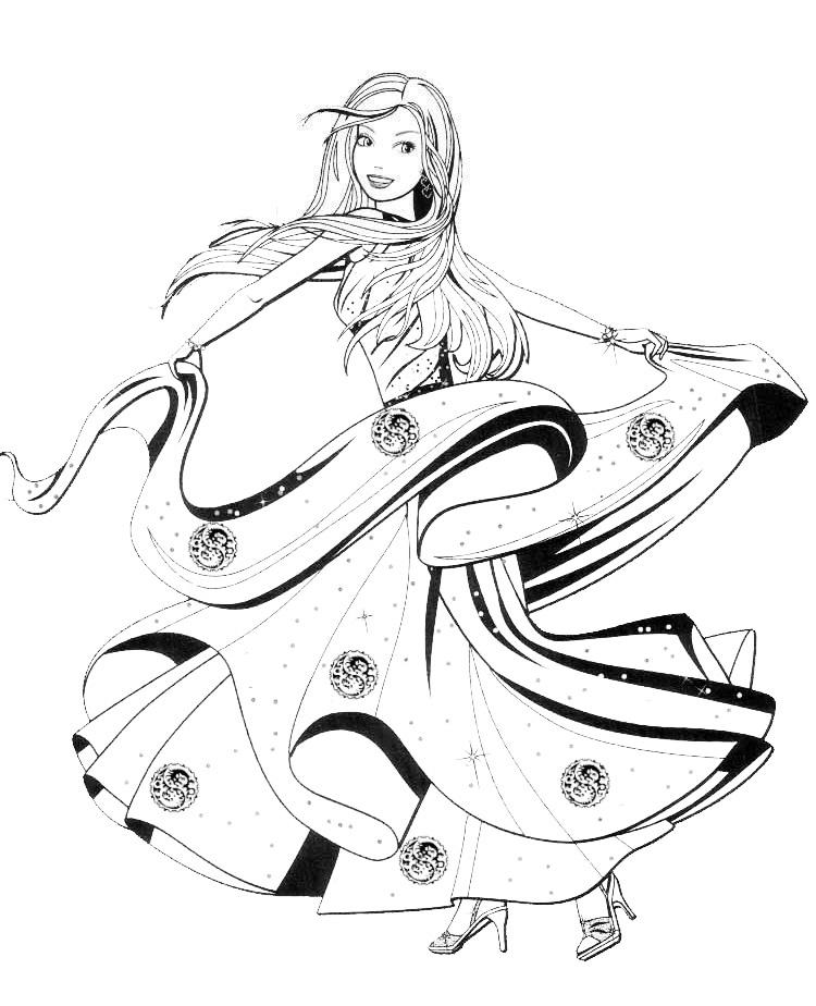раскраска барби танцует в бальном платье распечатать или