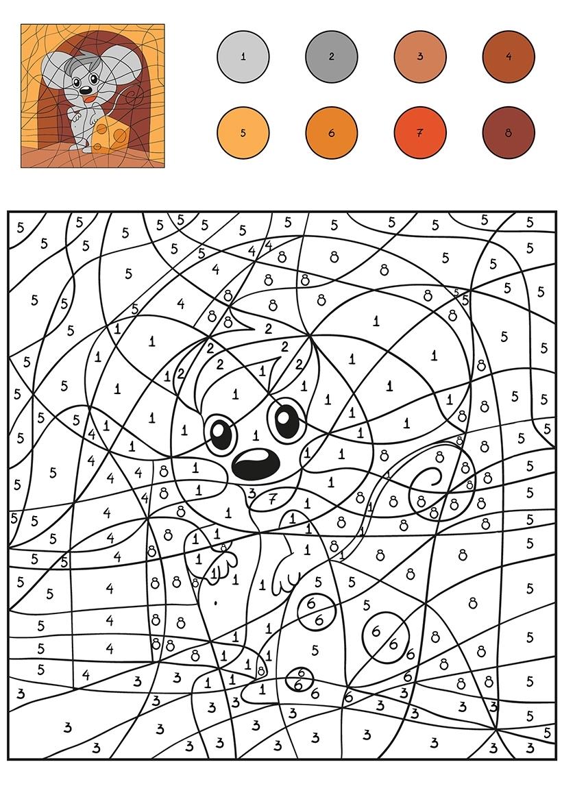 Раскраска Мышка с сыром по цифрам распечатать или скачать ...