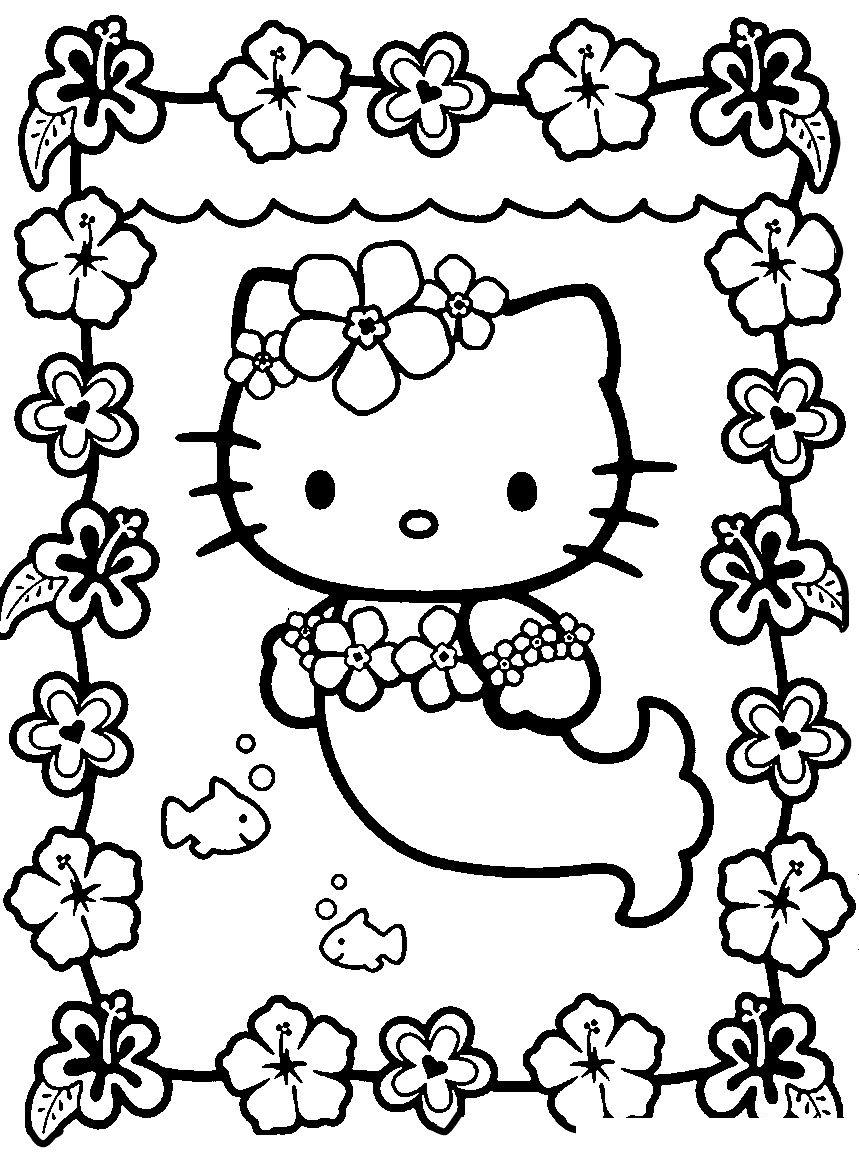 Раскраска Китти-русалочка распечатать или скачать бесплатно