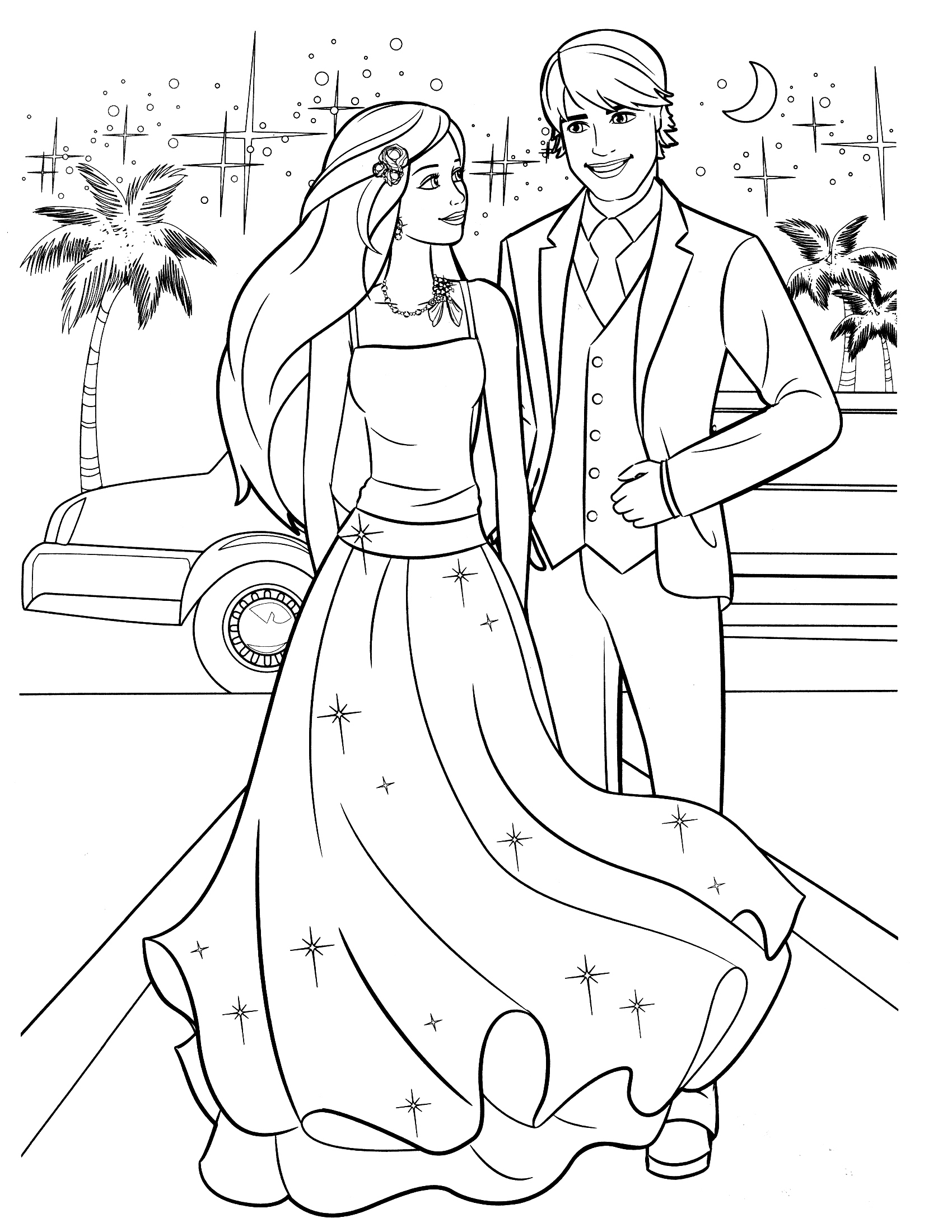 Раскраска Барби и Кен на балу распечатать или скачать ...
