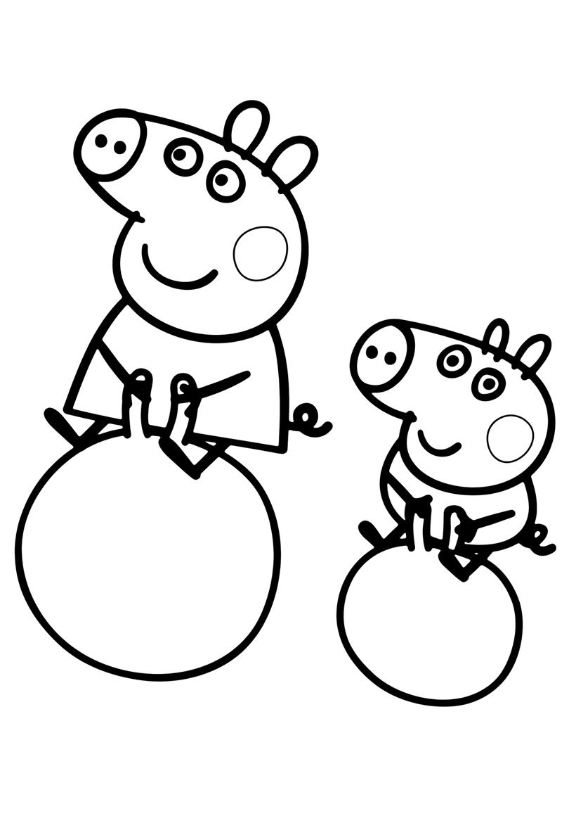 Раскраска Пеппа и Джордж распечатать или скачать бесплатно