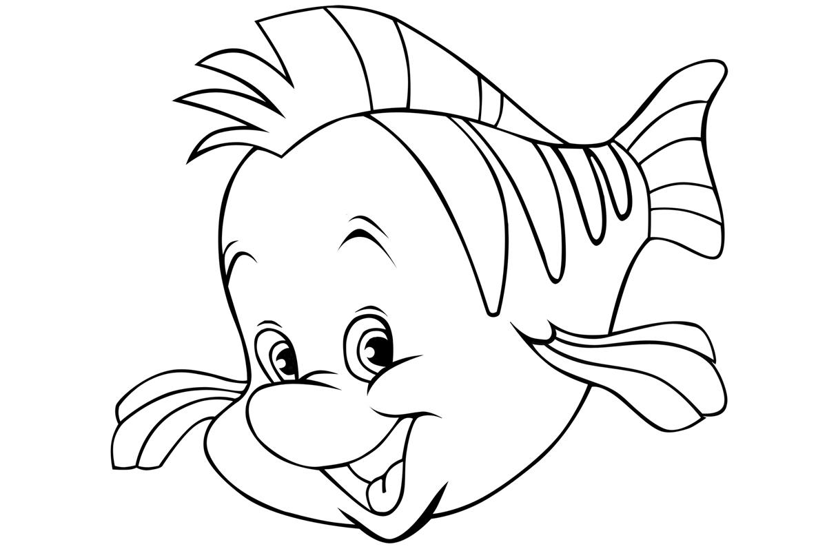 Раскраска Рыбка Русалочки распечатать или скачать бесплатно