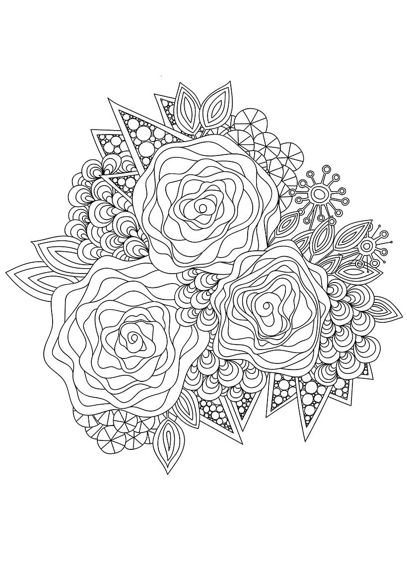 раскраска арт терапия три розы распечатать или скачать бесплатно