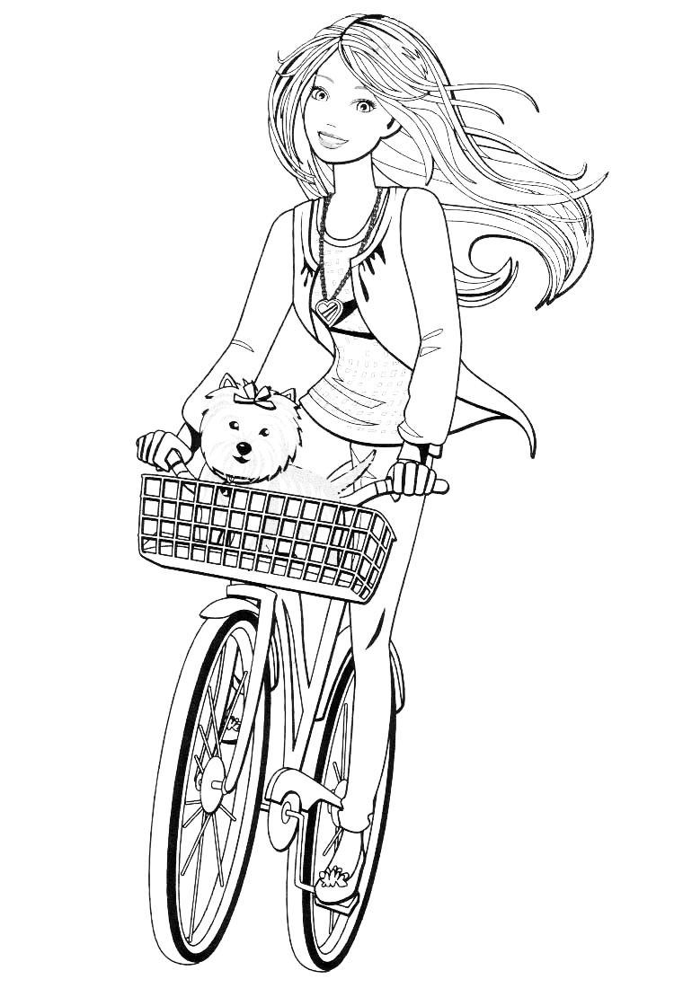 Раскраска Барби с собачкой на велосипедной прогулке ...