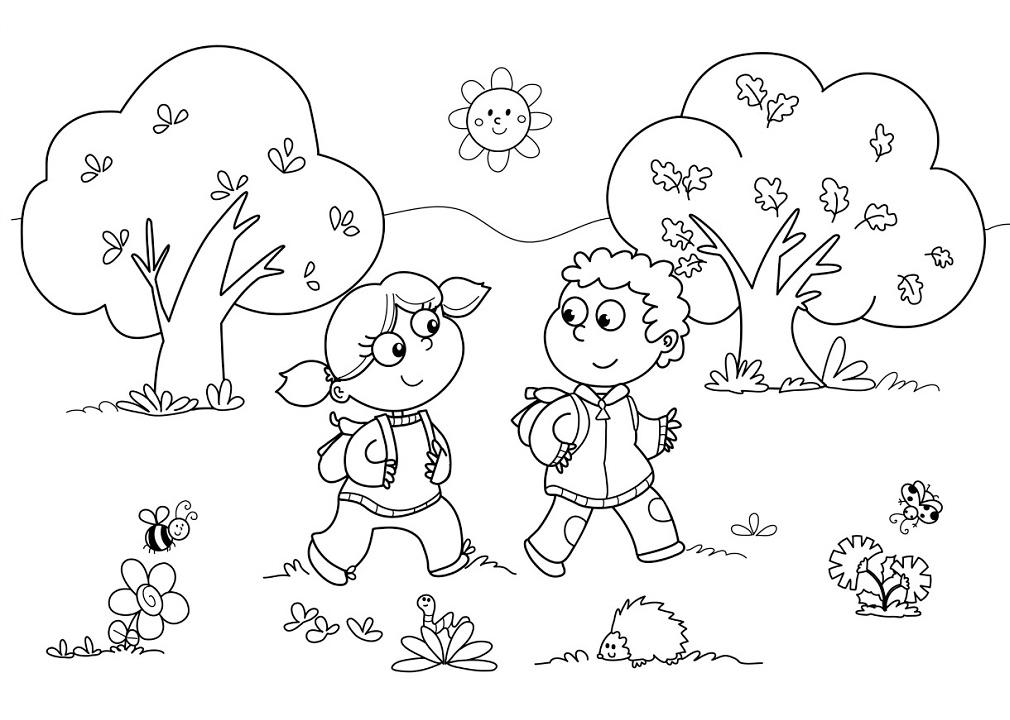 Раскраска Осенний пейзаж распечатать или скачать бесплатно