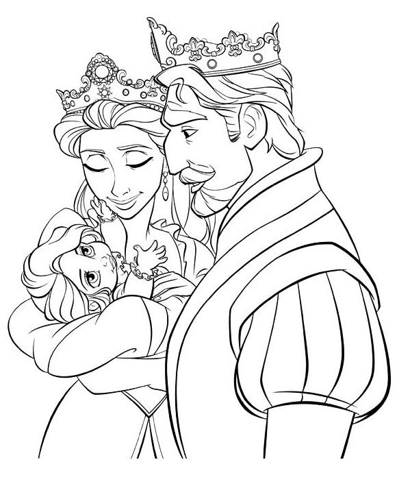Раскраска Маленькая Рапунцель на руках у родителей ...