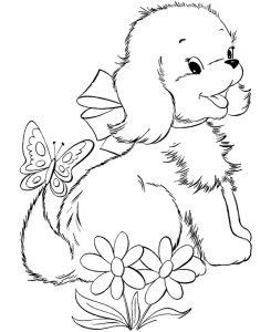 Раскраска Пушистая собачка заинтересовалась червячком ...