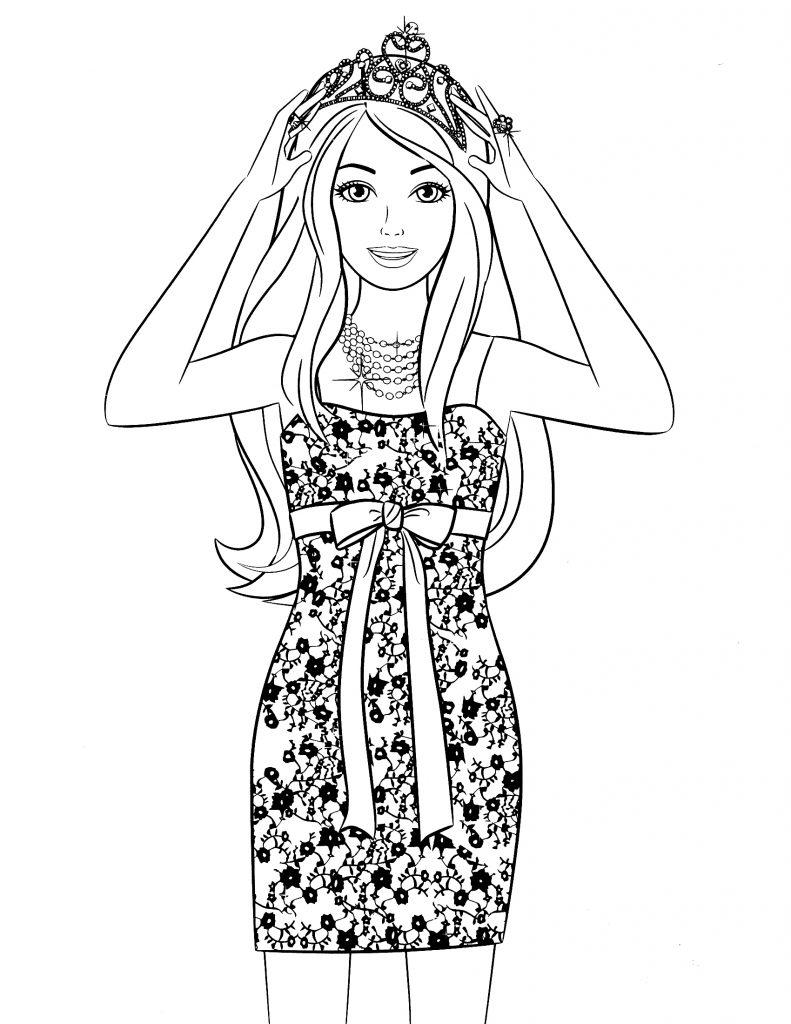 Раскраска Барби в стильном платье и короне распечатать или ...