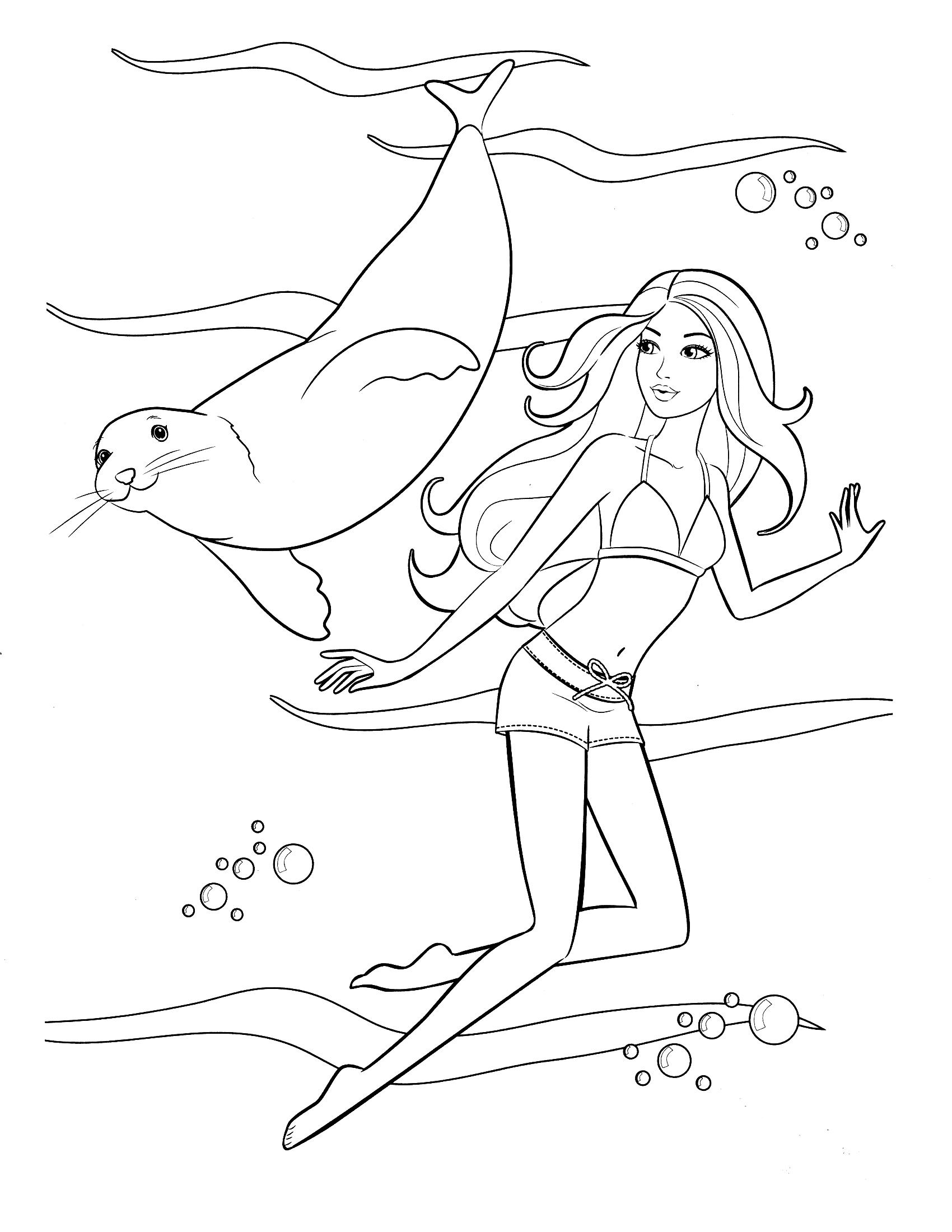 Раскраска Барби с морским котиком распечатать или скачать ...