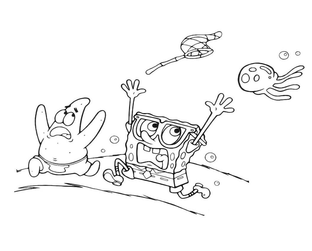 Раскраска Губка Боб и Патрик убегают от медузы распечатать ...