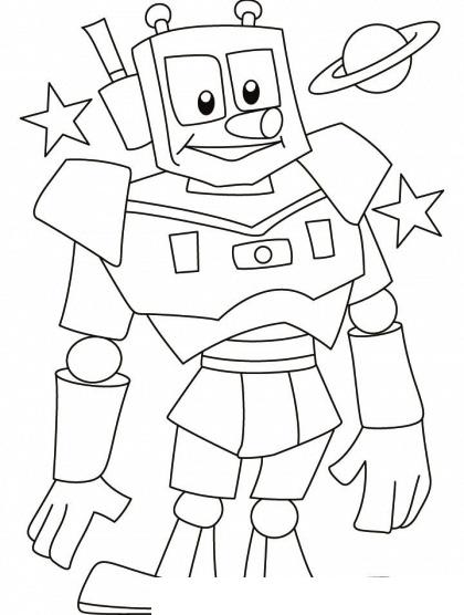 Раскраска Робот и Сатурн распечатать или скачать бесплатно