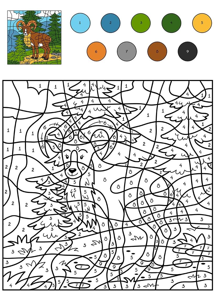 Раскраска Козлик по цифрам распечатать или скачать бесплатно