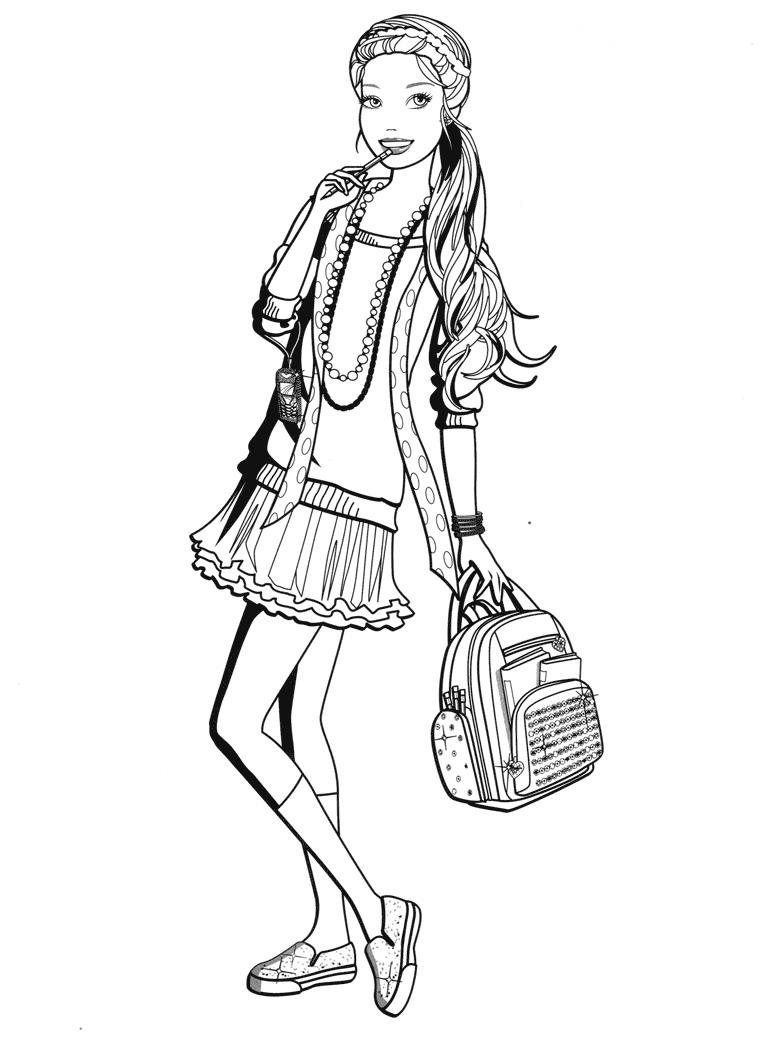 Раскраска Барби идёт в школу распечатать или скачать бесплатно