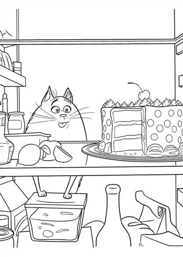 Раскраска кошка Хлоя и тортик распечатать или скачать ...