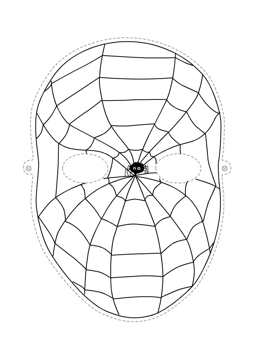 Раскраска Маска Человек-паук распечатать или скачать бесплатно