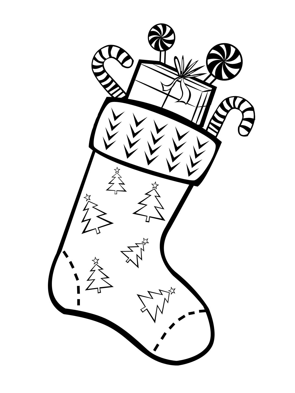 Раскраска Рождественский носок с елками распечатать или ...