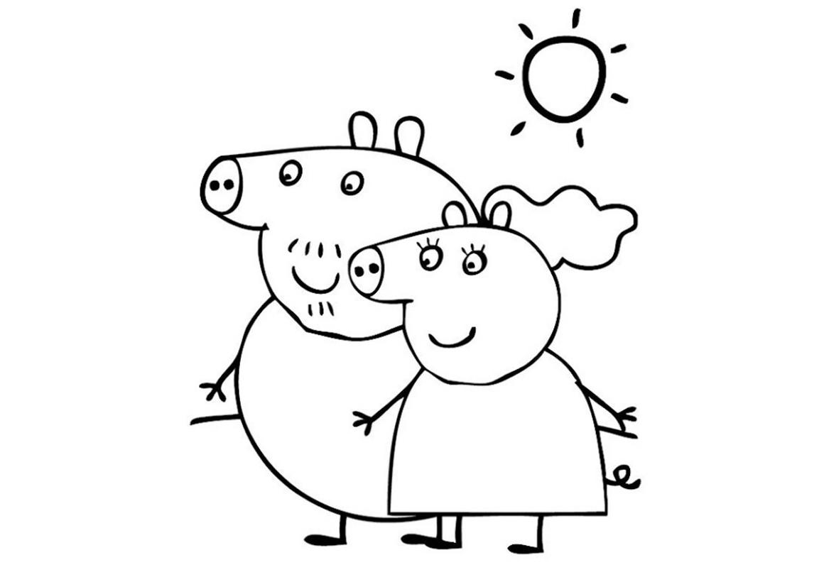Раскраска Папа Свин и мама Свинка распечатать или скачать ...