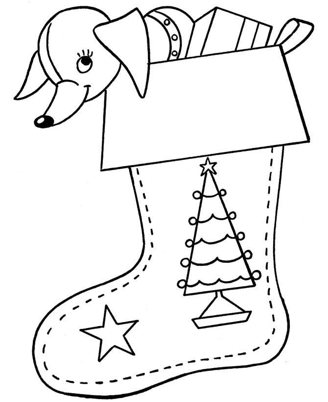 Раскраска Собачка в рождественском носке распечатать или ...