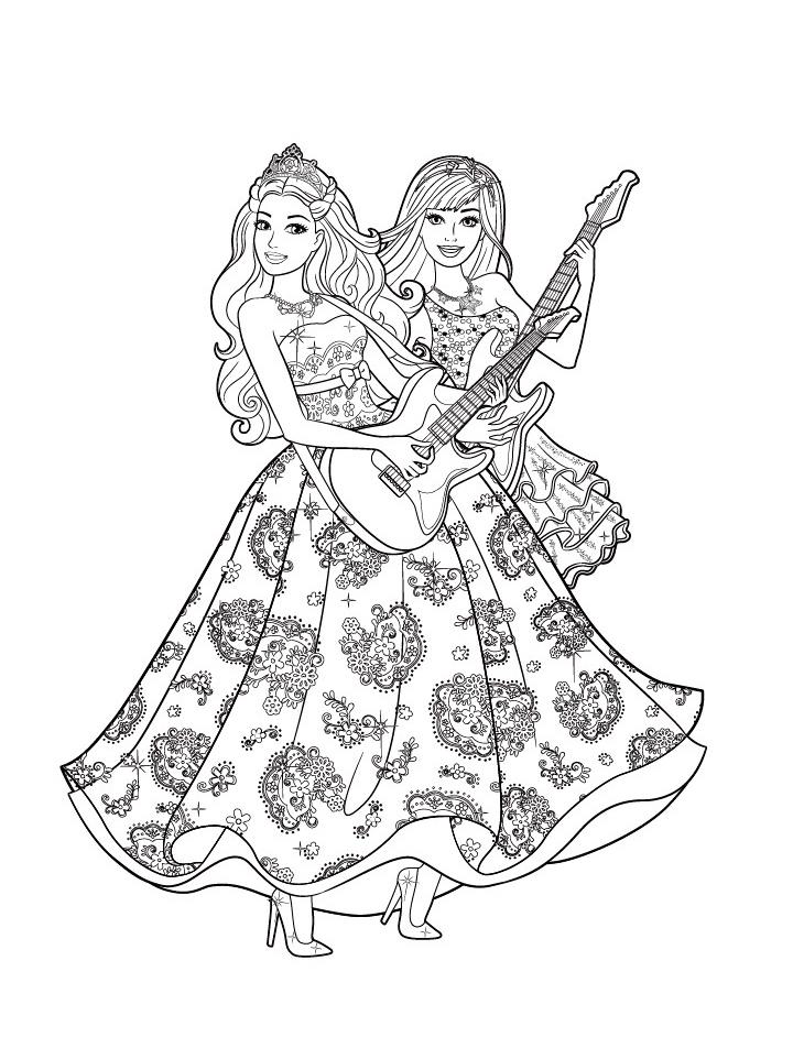 Раскраска Барби с гитарой распечатать или скачать бесплатно