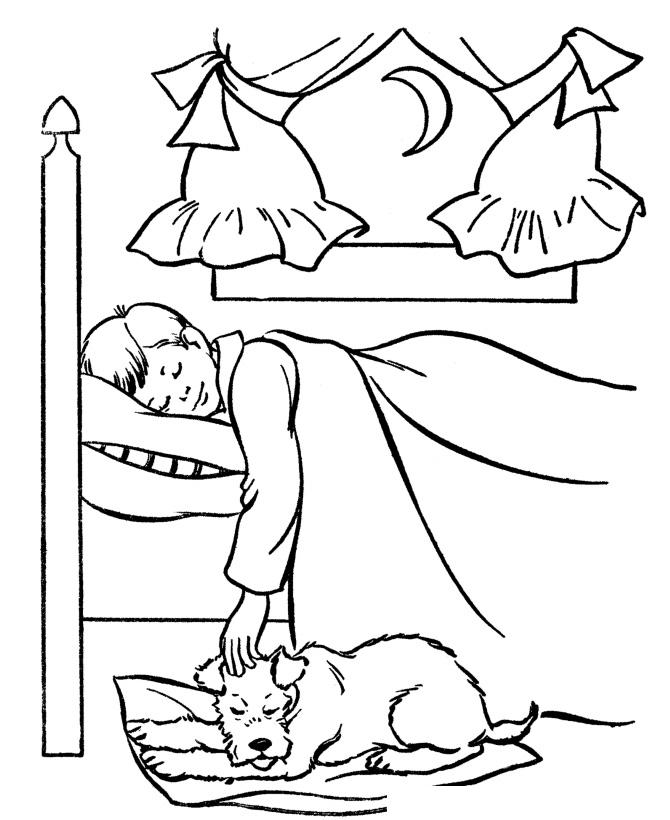 Раскраска Собака спит возле хозяина распечатать или ...