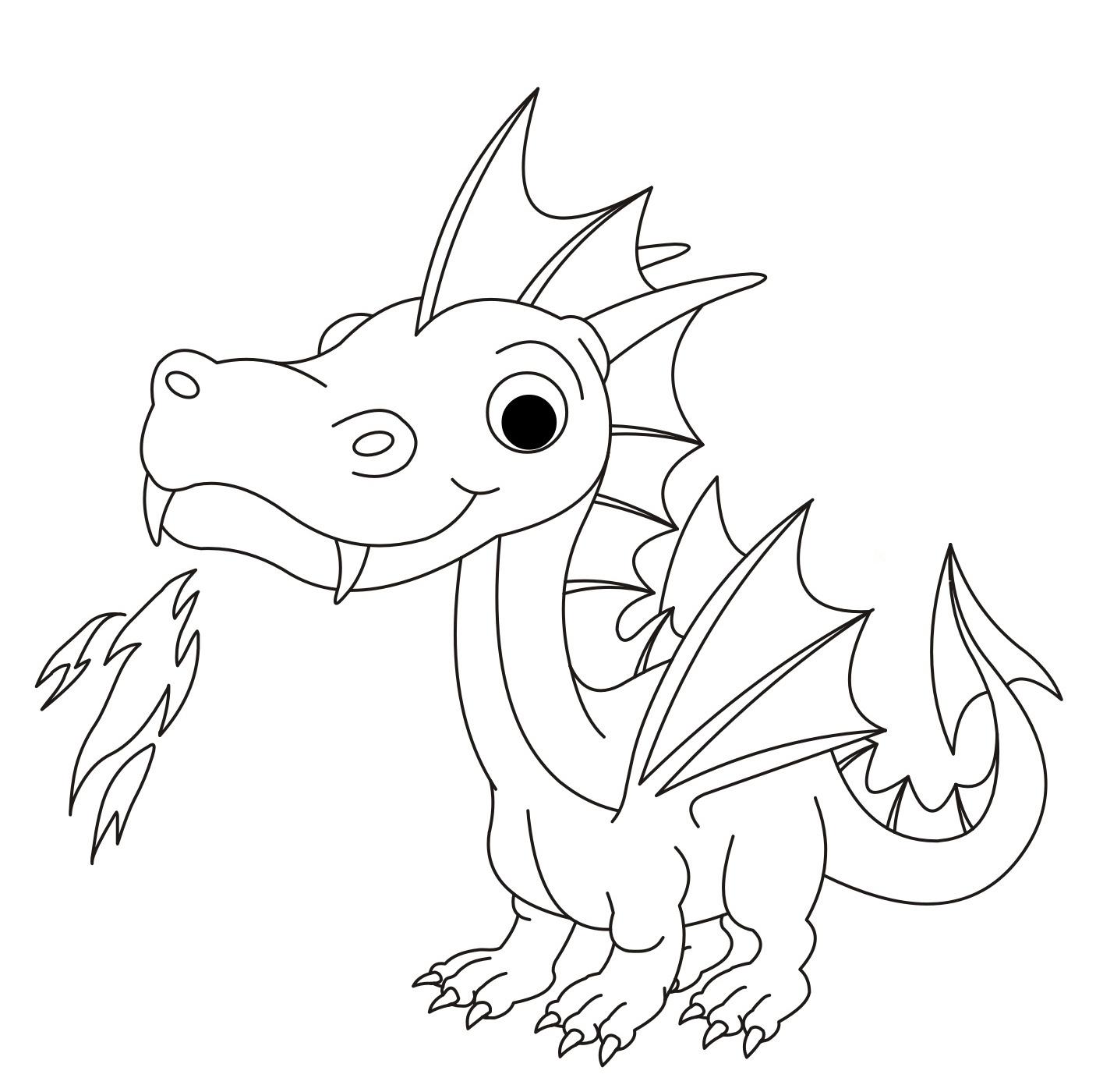 Раскраска Дракон с огнем распечатать или скачать бесплатно