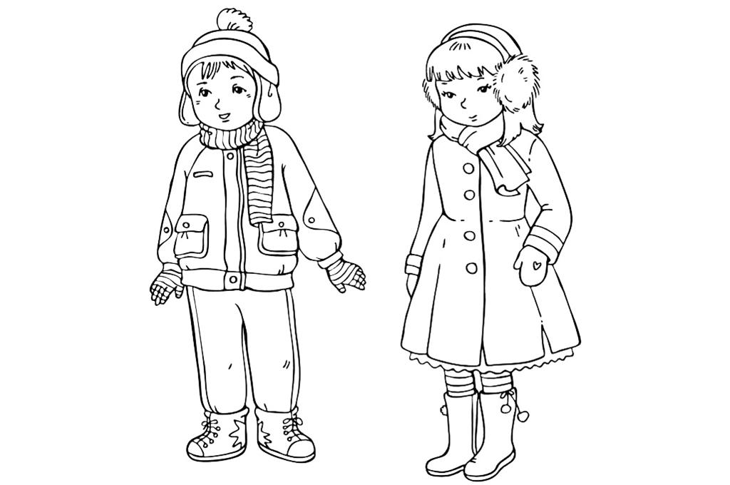 Раскраска Дети в зимней одежде распечатать или скачать ...